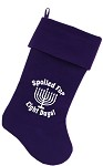 Spoiled for 8 Days Screen Print 18 inch Velvet Christmas Stocking Purple