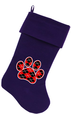 Argyle Paw Red Screen Print 18 inch Velvet Christmas Stocking Purple