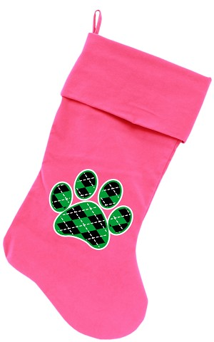 Argyle Paw Green Screen Print 18 inch Velvet Christmas Stocking Pink