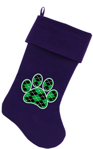 Argyle Paw Green Screen Print 18 inch Velvet Christmas Stocking Purple