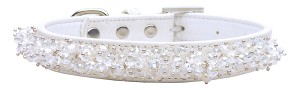 Faux Croc Beaded Collar White Large