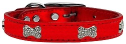 Crystal Bone Genuine Metallic Leather Dog Collar Red 22