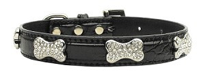 Faux Croc Crystal Bone Collars Black Large
