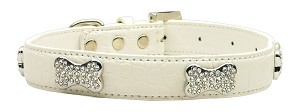 Faux Croc Crystal Bone Collars White Small