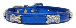Metallic Crystal Bone Collars Blue Extra Small