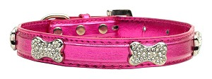 Metallic Crystal Bone Collars Pink Large