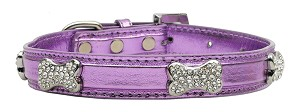 Metallic Crystal Bone Collars Purple Small
