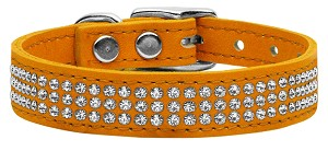 Three Row Jeweled Leather Mandarin 26