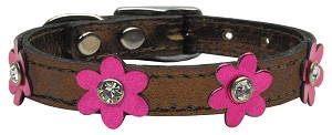 Flower Leather Bronze w/ Mtl Pink Flowers 10