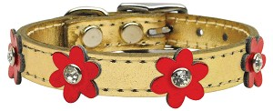 Flower Leather Gold w/ Red MTLFlowers 12