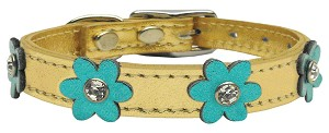 Flower Leather Gold w/ Metallic Turquoise Flowers 14