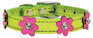 Flower Leather Metallic Lime Green w/ Metallic Pink Flowers 12