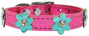 Flower Leather Metallic Pink w/ Metallic Turquoise Flowers 14