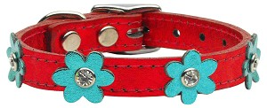 Flower Leather Metallic Red w/ Mtl Turq Flowers 10