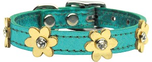 Flower Leather Metallic Turquoise w/ Gold Flowers 10