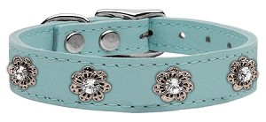Jewel Flower Leather Baby Blue 24