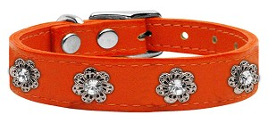 Jewel Flower Leather Orange 16