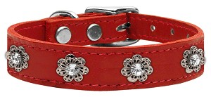 Jewel Flower Leather Red 26