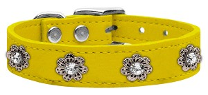 Jewel Flower Leather Yellow 26