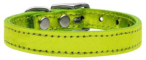 Plain Metallic Leather Lime Green 26