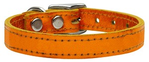 Plain Metallic Leather Metallic Orange 18