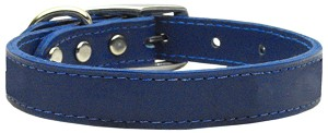 Plain Leather Collars Blue 12