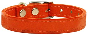 Plain Leather Collars Orange 12
