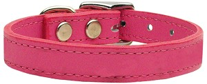 Plain Leather Collars Pink 18