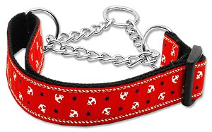 Anchors Nylon Ribbon Collar Martingale Red Large