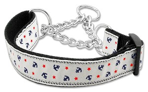 Anchors Nylon Ribbon Collar Martingale White Medium