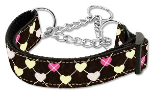 Argyle Hearts Nylon Ribbon Collar Martingale Brown Medium