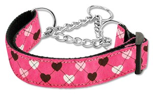 Argyle Hearts Nylon Ribbon Collar Martingale Bright Pink Large