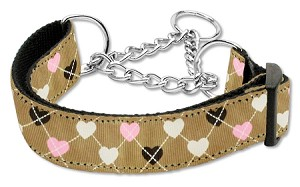 Argyle Hearts Nylon Ribbon Collar Martingale Tan Large