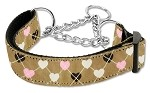 Argyle Hearts Nylon Ribbon Collar Martingale Tan Medium