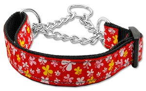 Butterfly Nylon Ribbon Collar Martingale Red Large