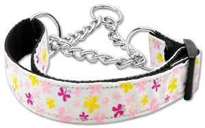 Butterfly Nylon Ribbon Collar Martingale White Large
