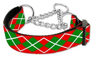 Christmas Argyle Nylon Ribbon Collar Martingale Large