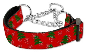 Christmas Tree Nylon Ribbon Collar Martingale Medium