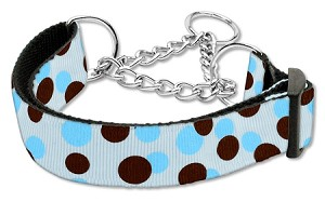 Confetti Dots Nylon Collar Martingale Baby Blue Large