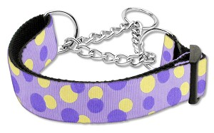 Confetti Dots Nylon Collar Martingale Lavender Large