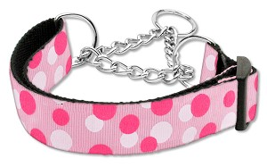 Confetti Dots Nylon Collar Martingale Light Pink Large