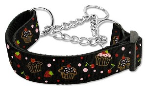 Cupcakes Nylon Ribbon Collar Martingale Medium Black