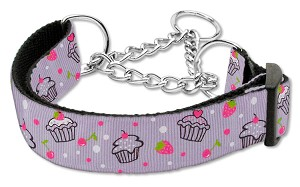 Cupcakes Nylon Ribbon Collar Martingale Medium Purple