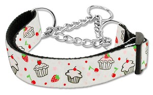 Cupcakes Nylon Ribbon Collar Martingale Large White