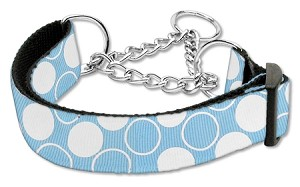 Diagonal Dots Nylon Collar Martingale Baby Blue Large