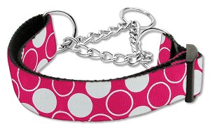 Diagonal Dots Nylon Collar Martingale Bright Pink Medium