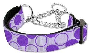 Diagonal Dots Nylon Collar Martingale Lavender Large