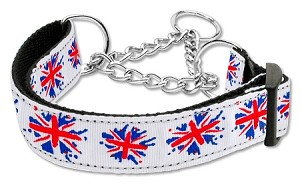 Graffiti Union Jack(UK Flag) Nylon Ribbon Collar Martingale Medium