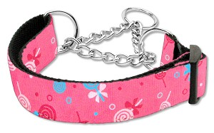 Lollipops Nylon Ribbon Collar Martingale Large Bright Pink