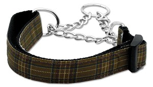 Plaid Nylon Collar Martingale Brown Large
